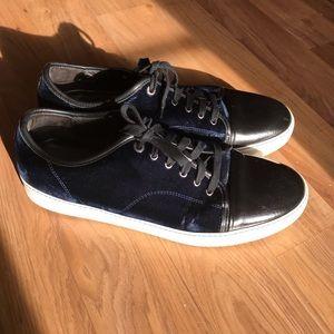 Lanvin men's blue velvet sneakers, sz 13